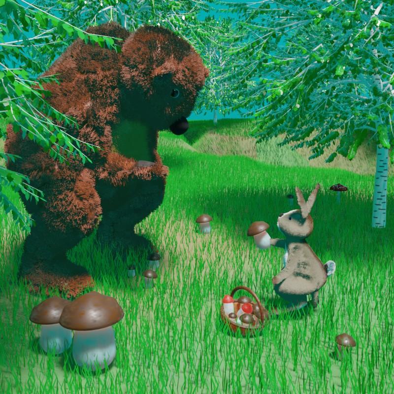 Сказка на ночь. Заяц и медведь
